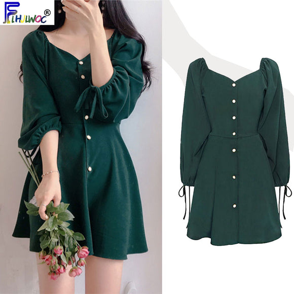 A Line Chic Dresses Women Fashion Style Design Cute Sweet Little Back Dress Party Mini Button Vintage Dress 9310