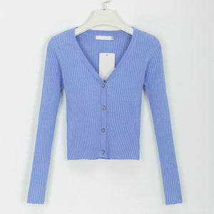 Sexy buttons knitted sweater cardigan women Slim ribbed winter autumn sweaters female Fashion plus size knitwear