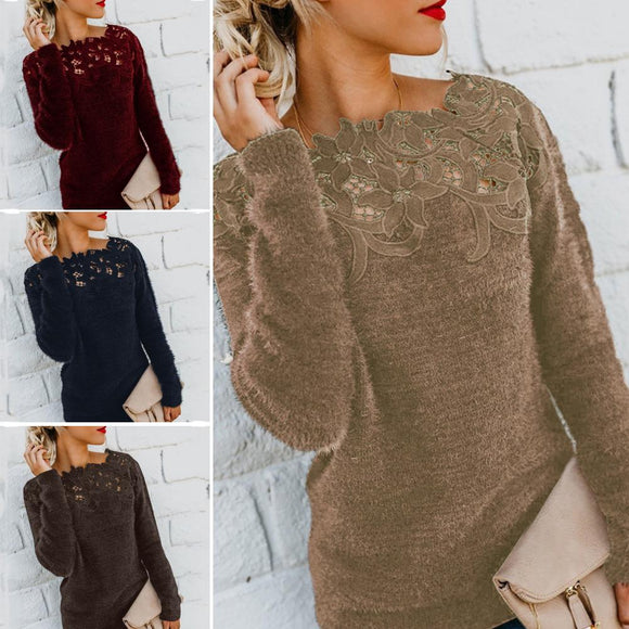 Women Sweaters Solid Color Long Sleeve O Neck Sweaters Pullovers Floral Lace Patchwork Pullover Sweater Women's Sweaters