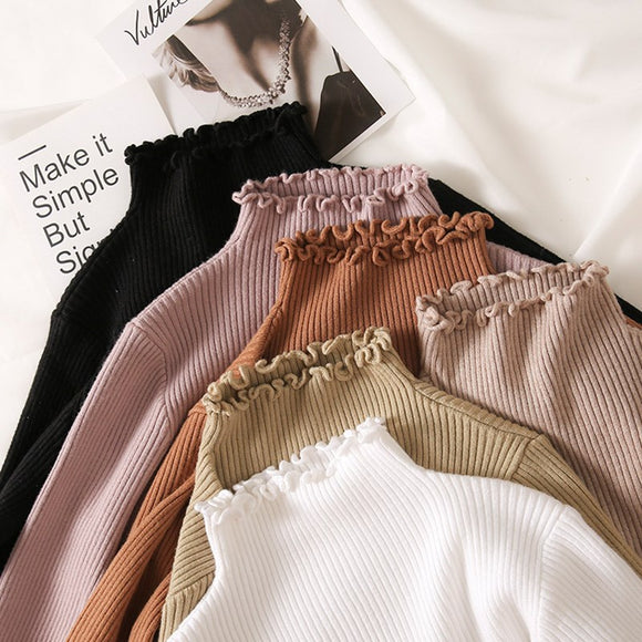 Turtleneck Ruched Women Sweater High Elastic Solid Fall Winter Fashion Sweater Women Slim Sexy Knitted Pullovers Pink White