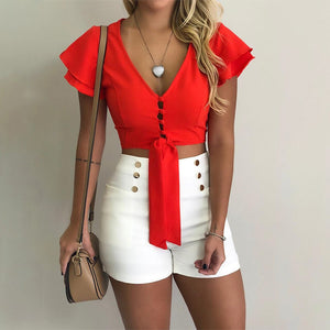 Women Shirt Sexy Sexy Exposed Navel Solid Color Short Blouse Yellow White Casual Shirt Summer Cross Strap Design Female Tops