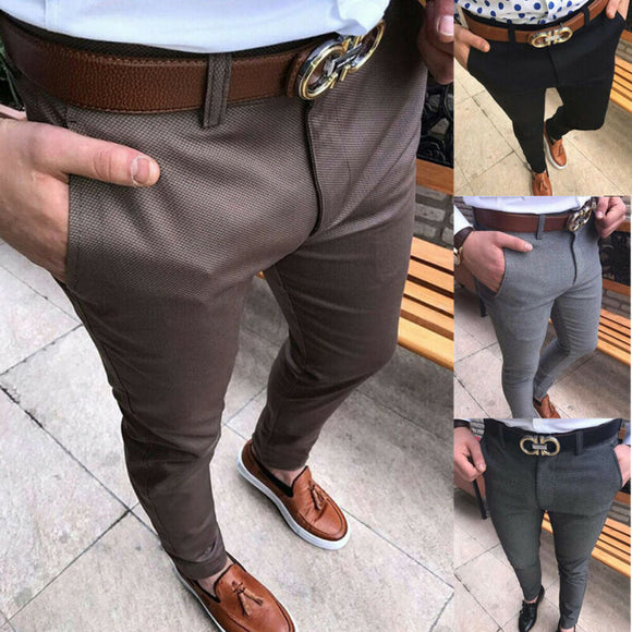 Hot Fashion Men's Slim Fit Business Formal Pants Cotton Mid Rise Bottoms Plus Size Casual Office Skinny Straight Solid Trousers