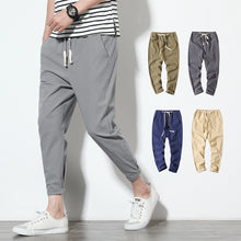 Load image into Gallery viewer, Cotton Joggers Men Solid Men's Harem Pants 2020 Summer Fitness Casual Ankle-Length Mens  Trousers Streetwear Slim Male Pants