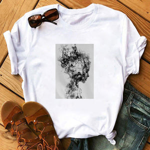 Tops Tshirt Modernist Sexy Lady Feather Butterfly T-shirt Women Plus Size Top Tees Clothes Korean Style Aesthetic Short Sleeve