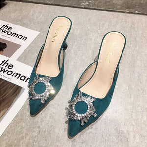 Flock Pointed Toe Women Slippers Rhinestone Design Thin High Heels Sandals Slides Shoes Woman Mules Shoes Outside Flip Flops