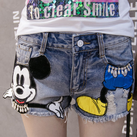 Summer Juniors Cute Patch Cartoon Jeans Woman Distressed Shorts Jeans For Women Plus Size Short Ripped Jeans Hot Mini Denim Pant