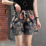 Max LuLu 2020 Summer Korean Designer Fashion Ladies Summer Denim Trousers Women Floral Printed Shorts Female Vintage Loose Jeans