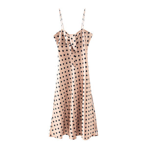 Elegant polka dot print women dress Sexy bow tie design midi dress Summer casual female lady beach vestidos dresses