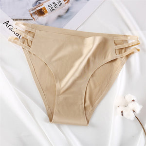 FINETOO Seamless Panties Women Underwear Sexy Female Briefs T-back Solid Color G-string Soft Thong Girls Hollow Waist Panty M-XL