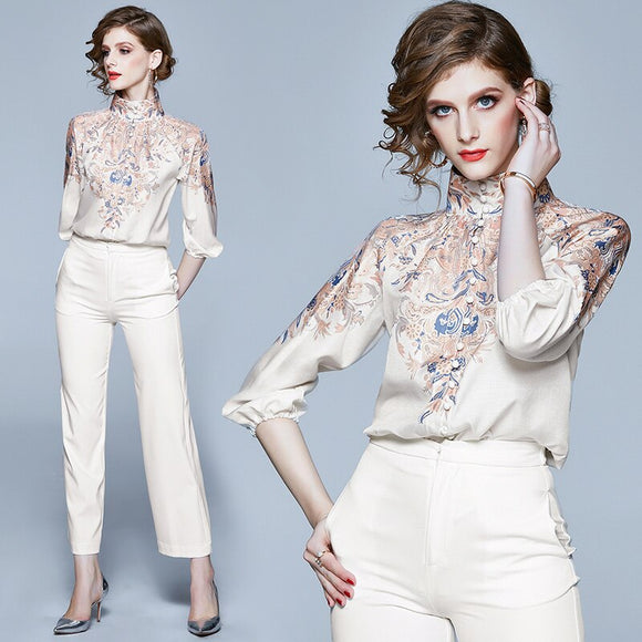 Fashion Designer Women's Turtleneck Single-Breasted Blouses & Shirts Runway Luxury Flower Printed Party Chiffon Loose Shirt Top