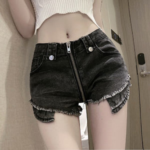 Real shot 2020 new fashion design casual thin irregular denim shorts female summer sexy zipper high elasticity tight short jeans