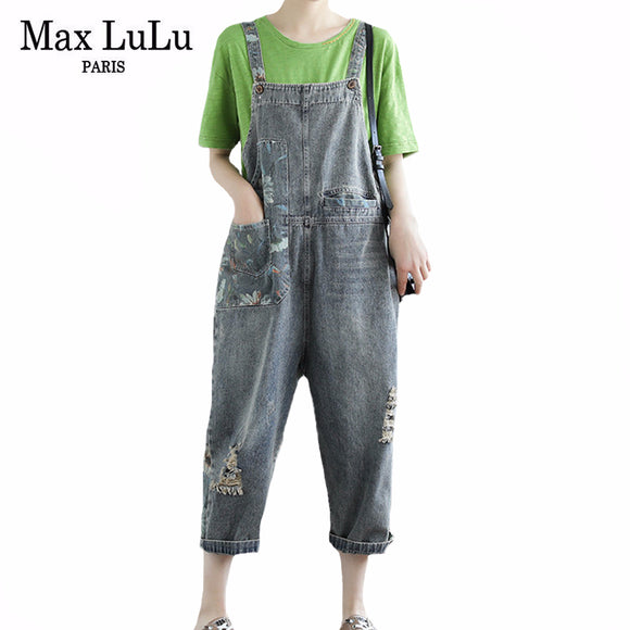 Max LuLu 2020 Korean Fashion Designer Ladies Floral Printed Denim Trousers Womens Loose Casual Jeans Ripped Overalls Plus Size