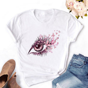 2020 Women T-shirt Eye Lashes Red Lips HEART Print Top Female Tshirt Fashion Casual Sleeve O Neck BASIC White Ladies Clothes