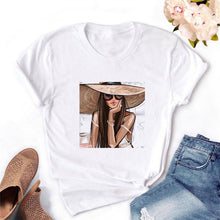 Load image into Gallery viewer, 2020 Women T-shirt Eye Lashes Red Lips HEART Print Top Female Tshirt Fashion Casual Sleeve O Neck BASIC White Ladies Clothes