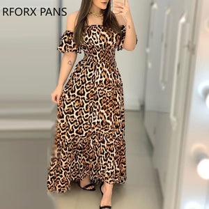 Women Off Shoulder Cheetah Print Shirring Design Ruffles Maxi Dress  Elegant  Sexy Party Dress