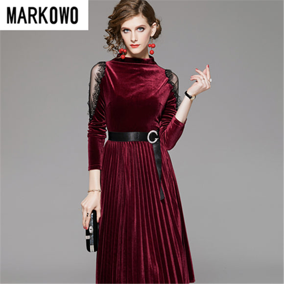MARKOWO Designer Brand 2020 Early spring new lace stitching gold velvet dress female mid-length temperament pleated skirt