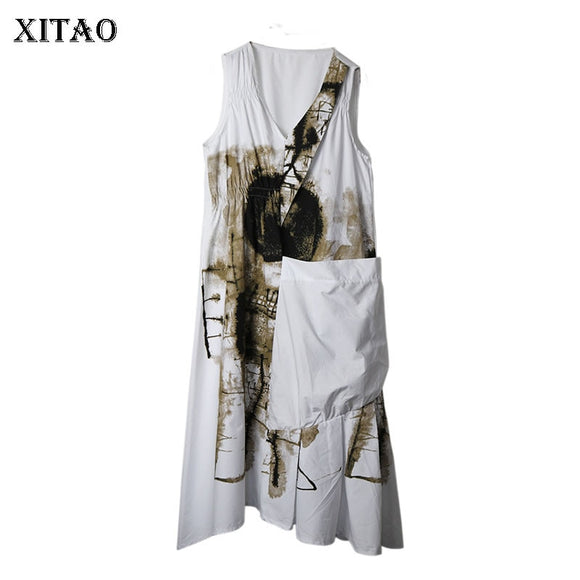 XITAO Europe Women Print Dress Drawstring Temperament Sleeveless A Line Pocket Loose 2020 Summer Fashion Design Dress XJ4819