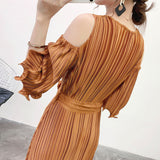 Hollow out half sleeve pleated dress female 2020 summer new metal texture dresses with belt high quality design YJ25708