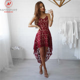 Fashion Asymmetrical Dress Sexy V-Neck Sling Sleeveless Solid Color Dress Hollow Out Design Elegant Women Summer Dress