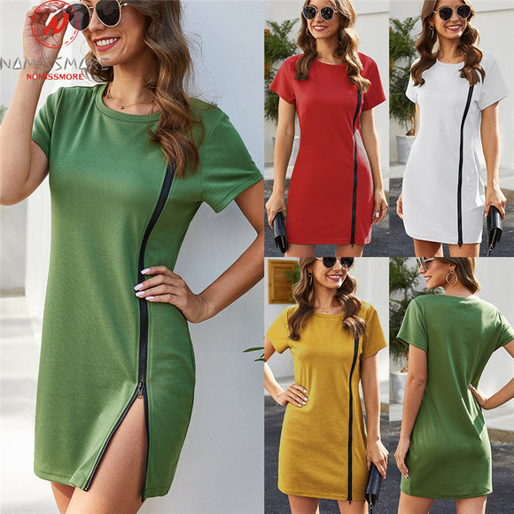 Fashion Women Summer Casual Loose Pencil Dress Patchwork Design Zipper Decor O-Neck Short Sleeve Solid Pullovers MIni Dress