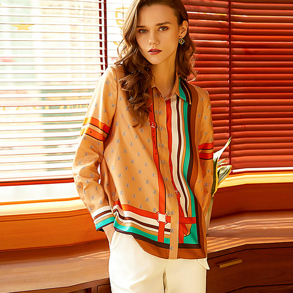 100% Twill Silk Blouses High Quality Women Shirt Printed Elegant Simple Design Long Sleeves Office Work Top Style New Fashion