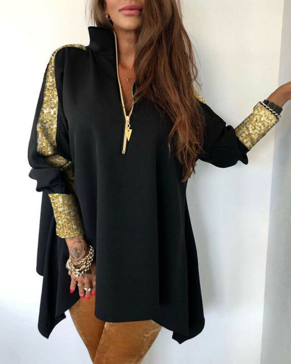 Women V-Neck Sequins Patchwork Stand Zipper Design Long Sleeve Shirt Blouse Top Elegant Bodycon Slim Loose Dress Plus Size hot