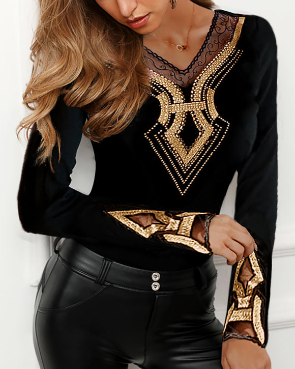 2020 Women Plus Size Long Sleeve V-Neck Shirt Female Black Casual Top Studded Design Mesh Insert Blouse