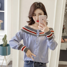 Load image into Gallery viewer, MUMUZI off the shoulder tops for women cotton striped Shirt female design thread stitching lanterns sleeve retro blue blouses