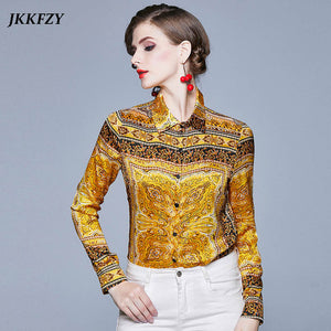 Yellow Long Sleeve Designer Runway Blouse Ladies Turn Down Collar Button Vintage Shirt Office Lady Elegant Top