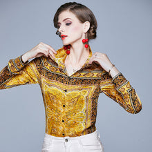 Load image into Gallery viewer, Yellow Long Sleeve Designer Runway Blouse Ladies Turn Down Collar Button Vintage Shirt Office Lady Elegant Top