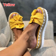 Load image into Gallery viewer, 2020 Leopard Bow Sandals Summer Flat Shoes Sliippers Butterfly-knot Shoes Women Designers Wedge Heel Ladies Beach Party Sandals