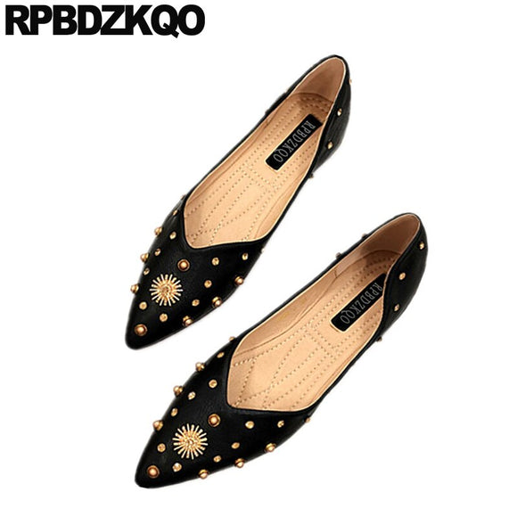 Black Factory Direct Designer Pointed Toe Women Dress Shoes Diamond Crystal Slip On Rhinestone Metal Rivet 5 Party Stud Flats