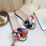 2020 Yellow Canvas Mixed Colors butterfly-knot designer Summer Slippers Shoes Women Mules wild Flip Flops Outdoor Slides Sandals