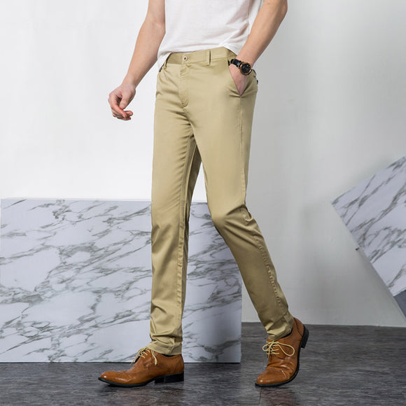 2020 Summer Men casual Pants Business Fashion Trousers Men Slim Stretch Khaki Black Long Pants Men Pantalon Homme