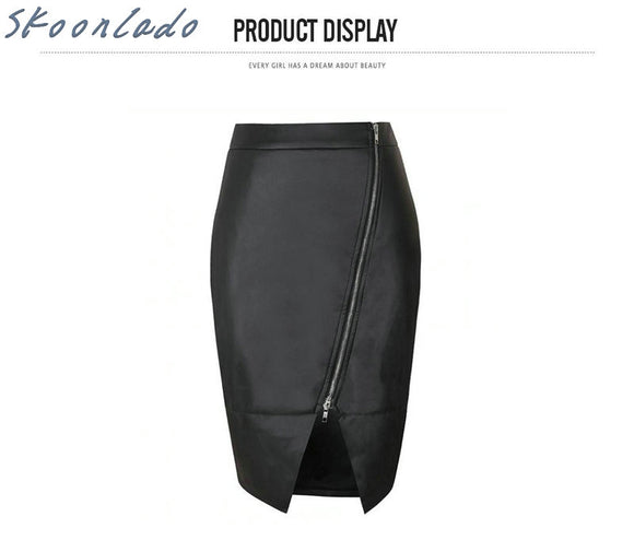 newest original oversea design Women PU Leather Midi Skirt Autumn Winter Ladies Package Hip Front or front Slit Skirt Plus Size
