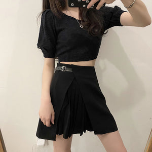 SML woman summer skirts 2020 preppy style High waist a line belt design mini Skirt irregular pleated Skirt womens (x1423