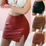 Fashion Women Summer Solid Color Skirts Low Split Design Zipper Decor High Waist Office Lady Slim Hips Mini Skirts