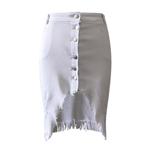 Fashion Unique Design New Women's Fashion Denim Skirt Summer Button Design Split Front Open Skirts Sexy High Waist Summer