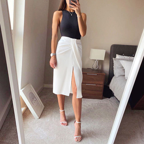 Design Split White Women's Midi Skirts With High Waist Lace Up Pleated Irregular Skirt Female 2020 Summer Fahshion Lady Bottoms