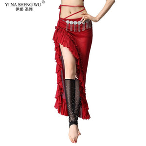 Belly Dance Split Skirt Sexy Women Oriental Belly Dance dress Female Dance Clothes Long Design Plus Size Sides Slits Skirts