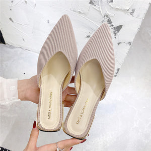 Shoes Woman 2020 Slippers Women Summer Luxury Slides Heeled Mules Shallow Pantofle Cover Toe Med Designer Heels New Flat Basic
