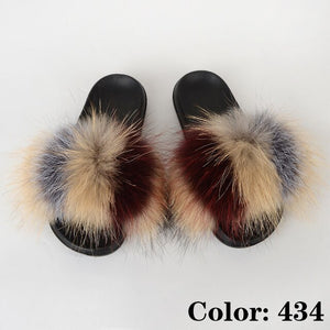 Fluffy Slipper Woman Summer Furry Slides Ladies Fashion Luxury Fur Sandals Designer Shoes Women Big Size Wholesale Drop Shipping