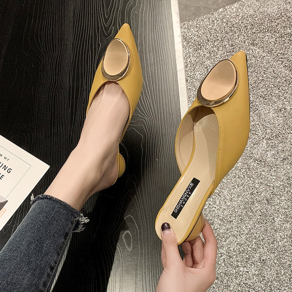 Brand Designer Women Shoes Low Heel Slippers Women Pointed Toe Mules Shoes 2020 Slip on Outside Slippers Woman Slides
