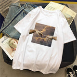 2020 Aesthetic Funny Women T-Shirts Design Tshirt Short Sleeve Oil Painting Sky Print Tee Tops Vintage T-shirts Women's T-shirt