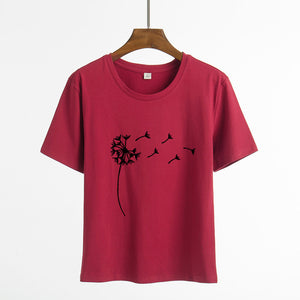 Harajuku Summer Wildflower Dandelion Print Women tshirt Casual Funny t shirt Gift For Lady Yong Girl Short Sleeve Top Tee Female