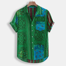 Load image into Gallery viewer, 2020 Men's Sirt Floral Print Turn-Down Collar Short Sleeve Button Loose Shirt Men' s Casual Tops Beach Vacation Fashion Sirt