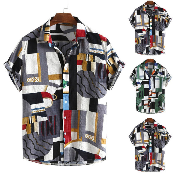2020 Men's Sirt Geometric Patchwork  Print Turn-Down Collar Short Sleeve Button Loose Shirt Men' s Hawaiian Sirt Beach Vacation
