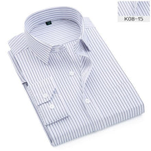 Load image into Gallery viewer, 45KG-130KG Spring Autumn Fashion Work Men Long Sleeve Shirt Casual Design Button Down Formal Striped Dress Shirts 6XL 7XL 9XL