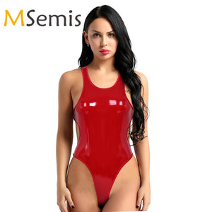 Women's Latex Thong Swimsuit Lingerie Shiny Thong Bodysuit Wetlook Leather Backless Swimwear High Cut Thong Leotard Bodysuit
