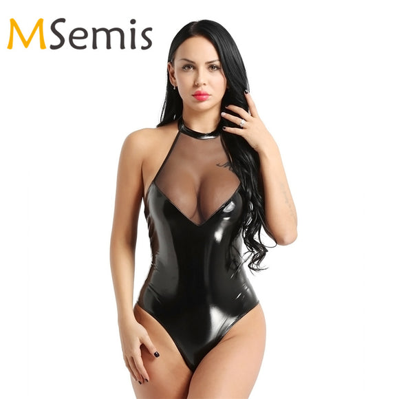 Women's Latex Swimsuits Wetlook Leather Swimwear Mesh Patchwork High Cut Bodysuit Gymnastics Leotard High Cut Swim Bodysuit